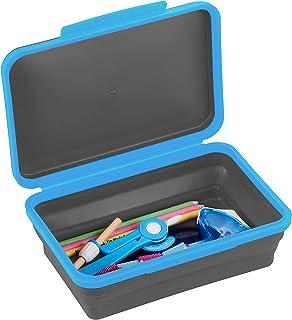 این جعبه ذخیره سازی انعطاف پذیر آکادمیک با درپوش ، طراحی قاب مداد تاشو برای وسایل صنایع دستی و مدرسه ، آبی/مشکی است