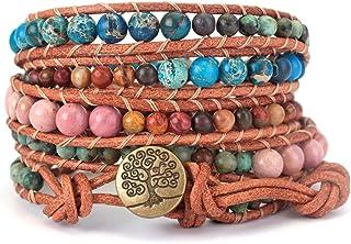 PANYSILVER Wrap Bracelet Handmade Woven Gemstone Crystal Beads Adjustable Leather Bead Bracelet Tree of Life Bangle 5 Wrap