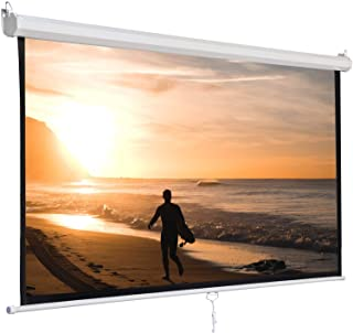 SUPER DEAL 120'' Projector Screen Projection Screen Manual Pull Down HD Screen 1:1 Format for Home Cinema Theater Presenta...