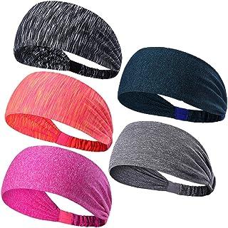 3adf1e800a39cb 5-Stück Sport Stirnband Schweißband, Anti- Rutsch Kopf schweissband,  atmungsaktiv für Rennen