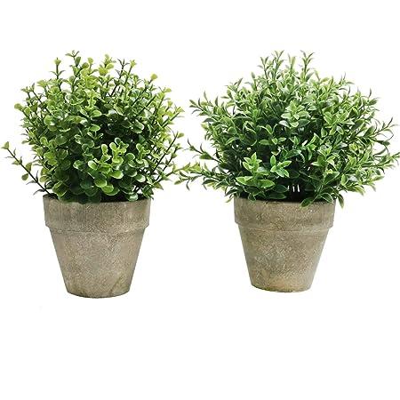 Amazon De U Artlines 2er Kunstliche Kunststoff Mini Pflanzen Topiary Straucher Gefalschte Pflanzen