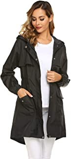 Avoogue Womens Rain Coat Lightweight Hooded Long Raincoat...