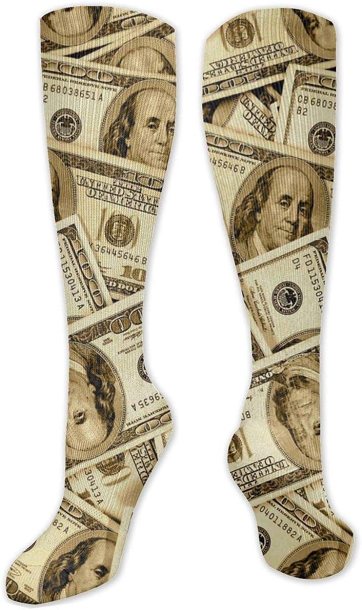 Money Knee High Socks Leg Warmer Dresses Long Boot Stockings For Womens Cosplay Daily Wear