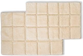 Superior 2-Piece Cotton Checkered Non - Skid Bath Rug Set, Ivory