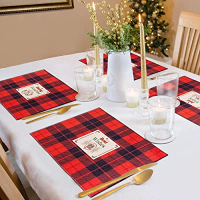 Waterproof Christmas Tablecloth 35 X 55 Inches Santa Claus Red Table Linens,Christmas Holiday Placemat Table Decor