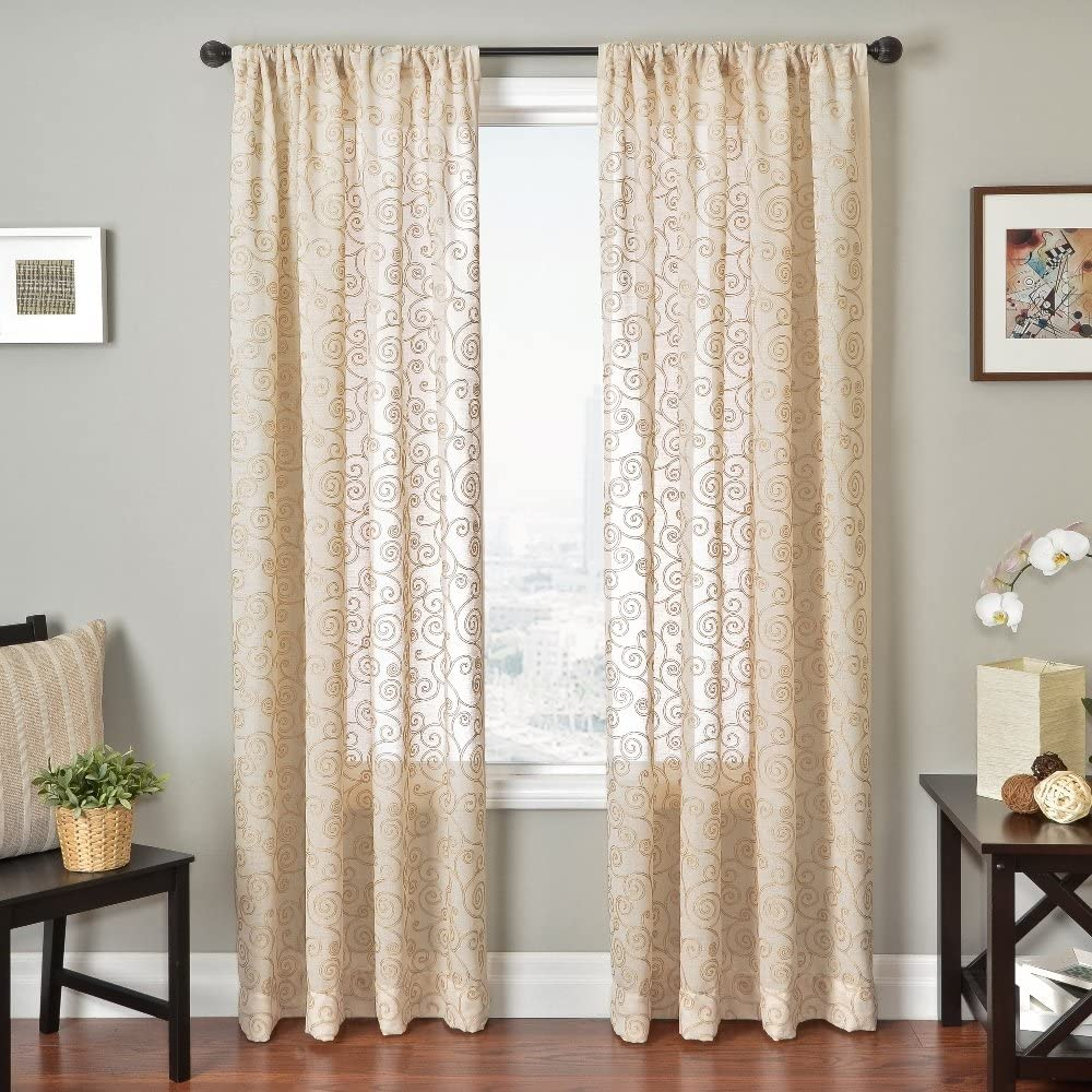 Softline Home OFFer Fashions Embroidered Window Curtain Tr Panel Sheer Reservation