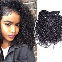 Addcolo Tight Curly Human Hair Clip in Extensions Brazilian Human Hair Clip in Extensions Virgin Hair Extension Hairpieces African American 8pcs 100grams/set (16 Inches)