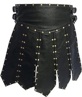 Mens Sexy Real Black Leather Heavy Duty Gladiator Kilt LARP
