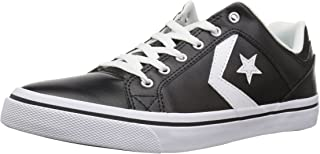 Converse EL Distrito Leather Low Top Sneaker, White/Black/White, 10 M US