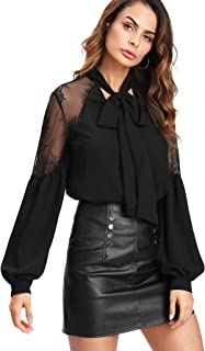 Women's Bow Tie Neck Long Sleeve Lace Chiffon Blouse Top