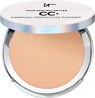 IT Cosmetics Your Skin But Better CC+ Airbrush Perfecting Powder - Medium (W) - Camouflage Pores, Dark Spots & Imperfections - With Peptides, Silk, Niacin & Hydrolyzed Collagen - 0.33 oz