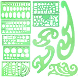 11 PCS Geometric Drawings Templates Stencils French Curve Engineering Drafting Template Plastic Measuring Template Rulers Clear Green Shape Template for Studying Designing School Office Supplies