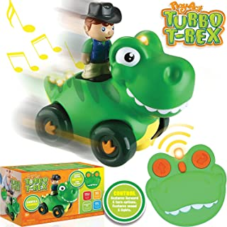 JOYIN Radio Control Toddler Cartoon Dino Race Car Toys with Music and Sound Features Dinosaur RC Remote Control for Year Old Kids Easter Basket Stuffers, Classroom Prize