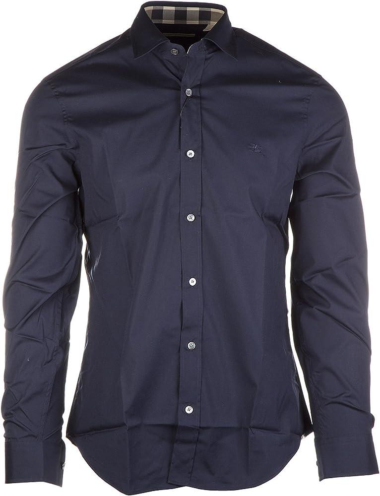 Burberry cambridge, camicia manica lunga da uomo, blu, 97% cotton, 3% elastane 3991157