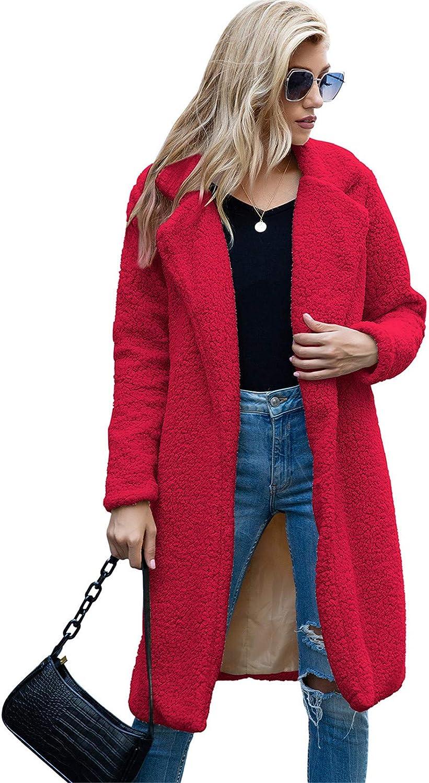 Snhpk Women Teddy Fleece Furry Open Front Cardigan Coat Jacket, Long Maxi Faux Fur Moto Warm Winter Fuzzy Outwear,Red,XXL