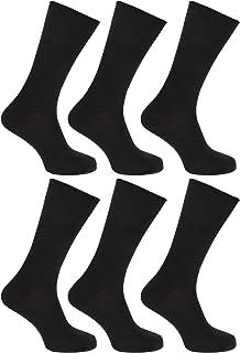 Calcetines lisos 100% algodón para hombre/caballero - Pack de 6 pares de calcetines