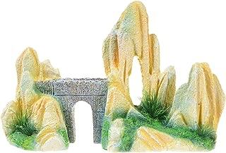 Saim Aquarium Mountain Decorations Bridge Cave Fish Tank Ornament Large Yellow