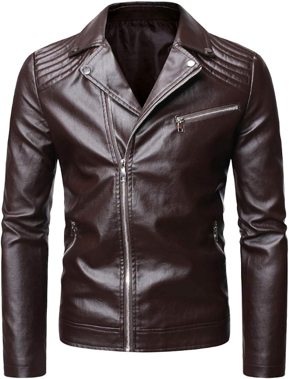Men Leather Jackets,Vintage Classic Leather Zip Up Biker Bomber Jacket V1613