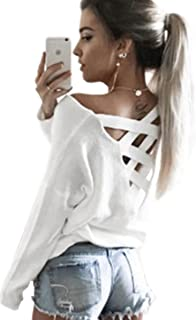 ECOWISH Womens Criss Cross V Neck Top Cut Out Loose Pullover Blouse Backless Shirt Casual Jumper Tops