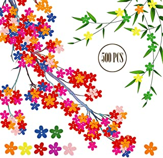 BcPowr 500 PCS Wooden Petal Buttons Sewing Button DIY Craft Decoration, Mixed Color,Colorful Flower Flatback Wooden Buttons Sewing Craft Scrapbooking