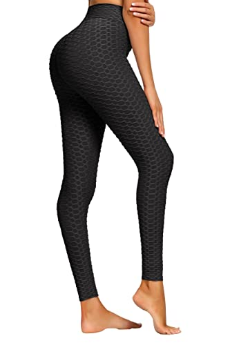 LOVE FANG Women Honeycomb Anti Cellulite Waffle Leggings, High Waist Yoga Push Up Pants Bubble Textured