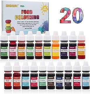 Colorante alimentario 20*6ml, Colorante Alimentario Alta Concentración Liquid Set para Colorear los Bebidas Pasteles Galletas Macaron Fondant