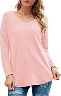 Womens Long Sleeve V Neck Tunic Tops Loose Casual Blouse...