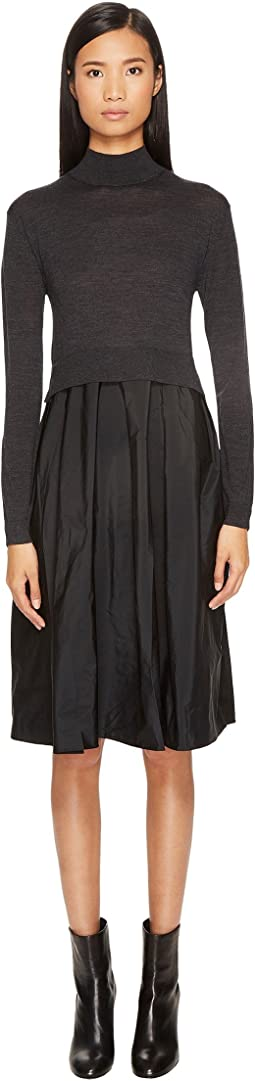 Jil Sander Navy - Mock Neck Sweater Dress with Fabric Bottom