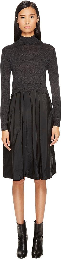 Jil Sander Navy - Mock Neck Sweater Dress with Fabric Bottom