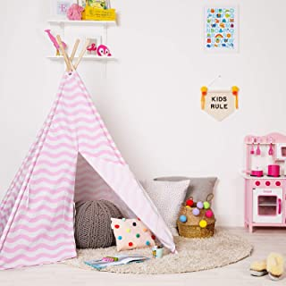 boppi® Teepee canvas barn stor utomhus och inomhus bärbar indisk wigwam lekstuga lekstuga leka tält flickor – rosa