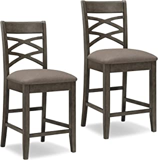 Leick Furniture Double Cross Counter Height Bar Stool (Set of 2), Grey