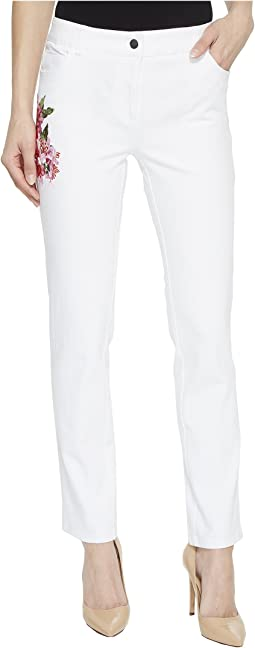Five-Pocket Jeans with Floral Embroidery in White
