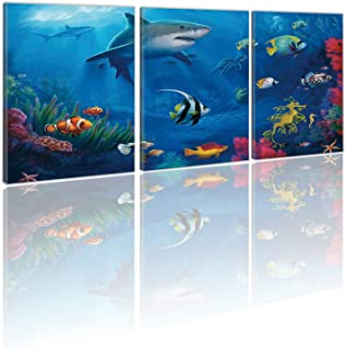 HVEST Framed 3D Shark Wall Art 3 pieces Home Wall Decor Blue Marine Life Sea Turtle and Tropical Fish Coral Print Canvas A...