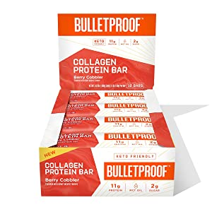 Collagen Protein Bars, Berry Cobbler, 11g Protein, 12 Pack, Bulletproof Grass Fed Healthy Snacks, Made with MCT Oil, 2g Sugar, No Sugar Added