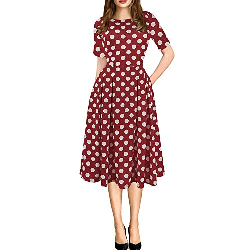 04b39922b89 oxiuly Women s Vintage Patchwork Pockets Puffy Swing Casual Party Dress  OX165