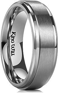 Basic 4mm 6mm 7mm 8mm 9mm Mens Titanium Wedding Ring Brushed Finished Wedding Band Comfort Fit Stepped Edge