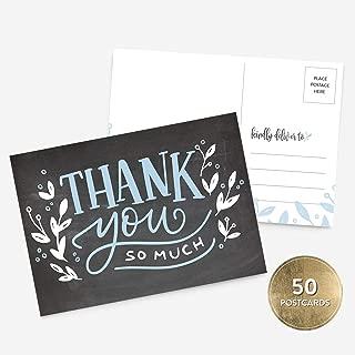 50 4x6 Handlettered Thank You Postcards Bulk Set, Chalkboard Blue Thank You, Baby Shower Thank You Note Card Stationery, Blank Thank You Note Card