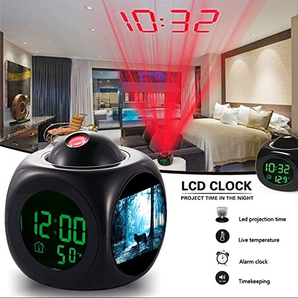 GIRLSIGHT Alarm Clock Multi Function Digital LCD Voice Talking LED Projection Wake Up Bedroom With Data And Temperature Wall Ceiling Projection 340 Wolf Forest Trees Black Nightmare Scary