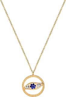 18K Gold Plated Choker Necklace Stainless Steel Delicate Chain Necklace with CZ Evil Eye Hamsa Hand Necklace for Women