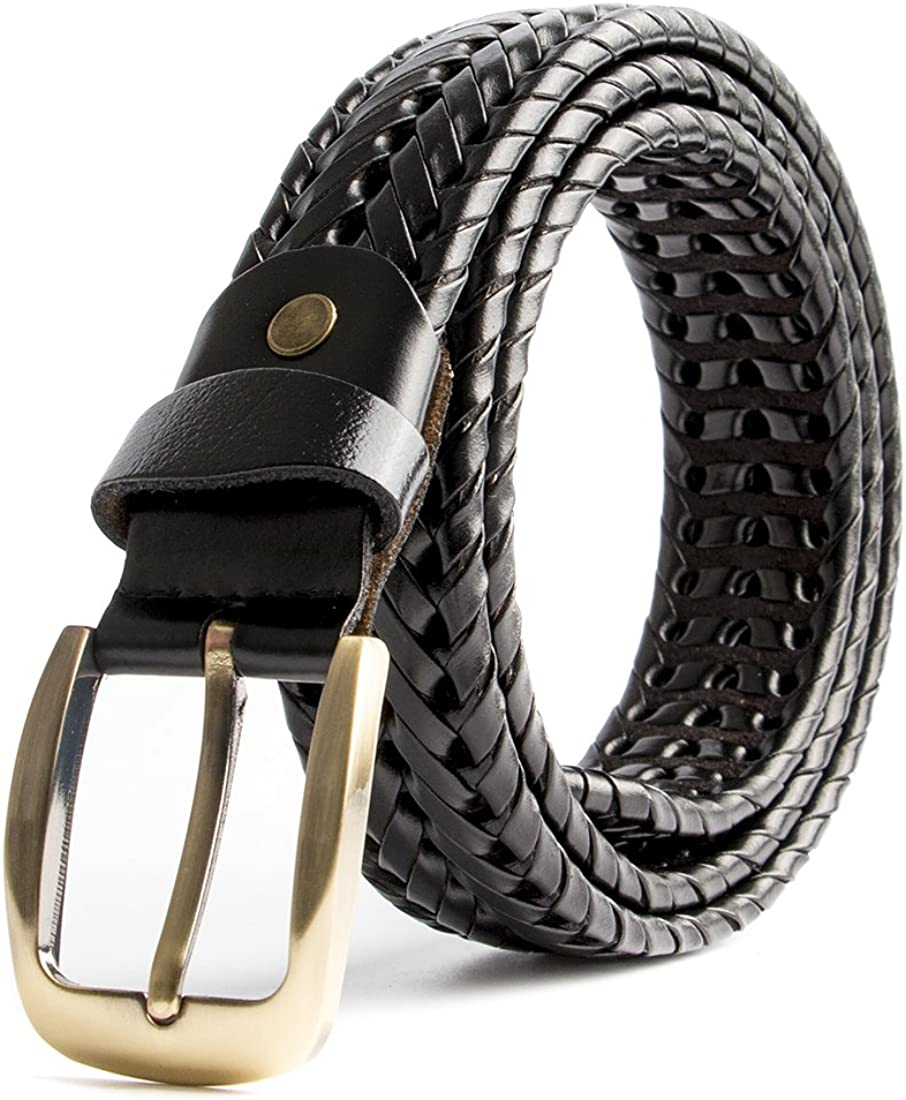XingCHi Max 43% OFF Men Popular brand Braided Woven Genuine Leather 35mm wide Belt
