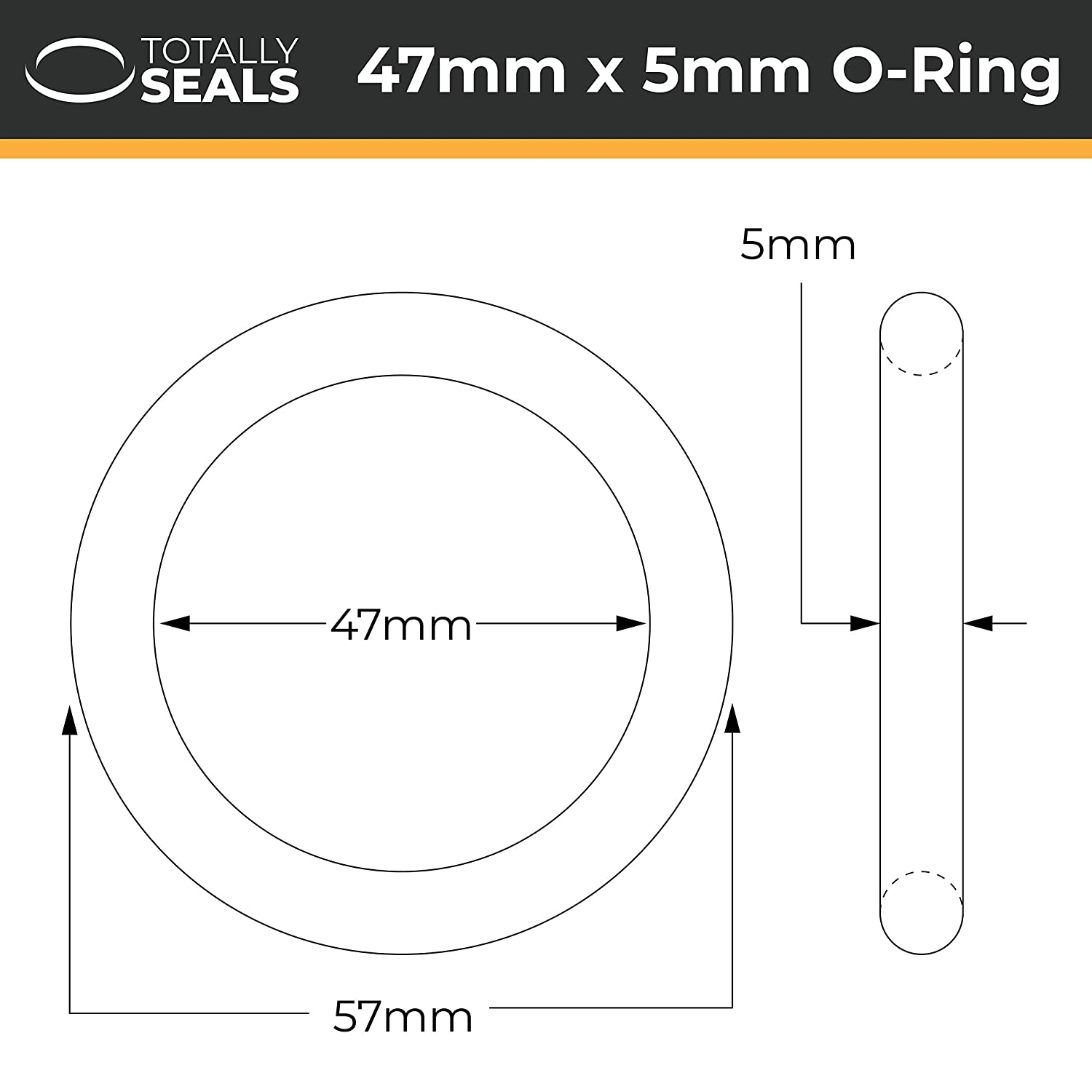 57mm OD Totally Seals/® 47mm x 5mm Pack of 02 Rubber Metric O-Rings Black Nitrile NBR 70A Shore Hardness