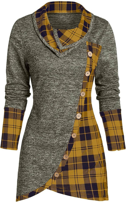 Women Tops Fashion Button Cowl Neck Sweater Long Sleeve Tops Blouse Pachwork Pliad Xmas Sweaters Turtleneck Coat