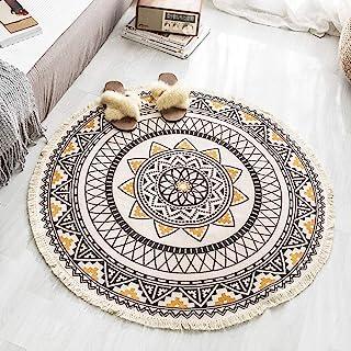 Tassels Area Round Rugs Carpet Cotton Handwoven for Sofa Living Room Bedroom Home Decor Floor Mat 90cm, Yellow Black