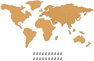 Juvale 15-Piece World Map Cork Board with 20-Pack Push Pins Included - Self-Adhesive Bulletin Board - Perfect Decorfor Hom...