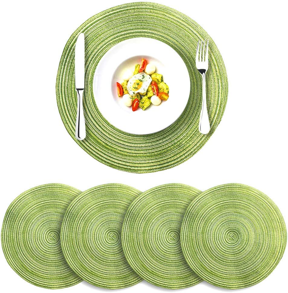 Buy TIKY Round Placemats Woven Table Mats for Dining Table, Pack ...