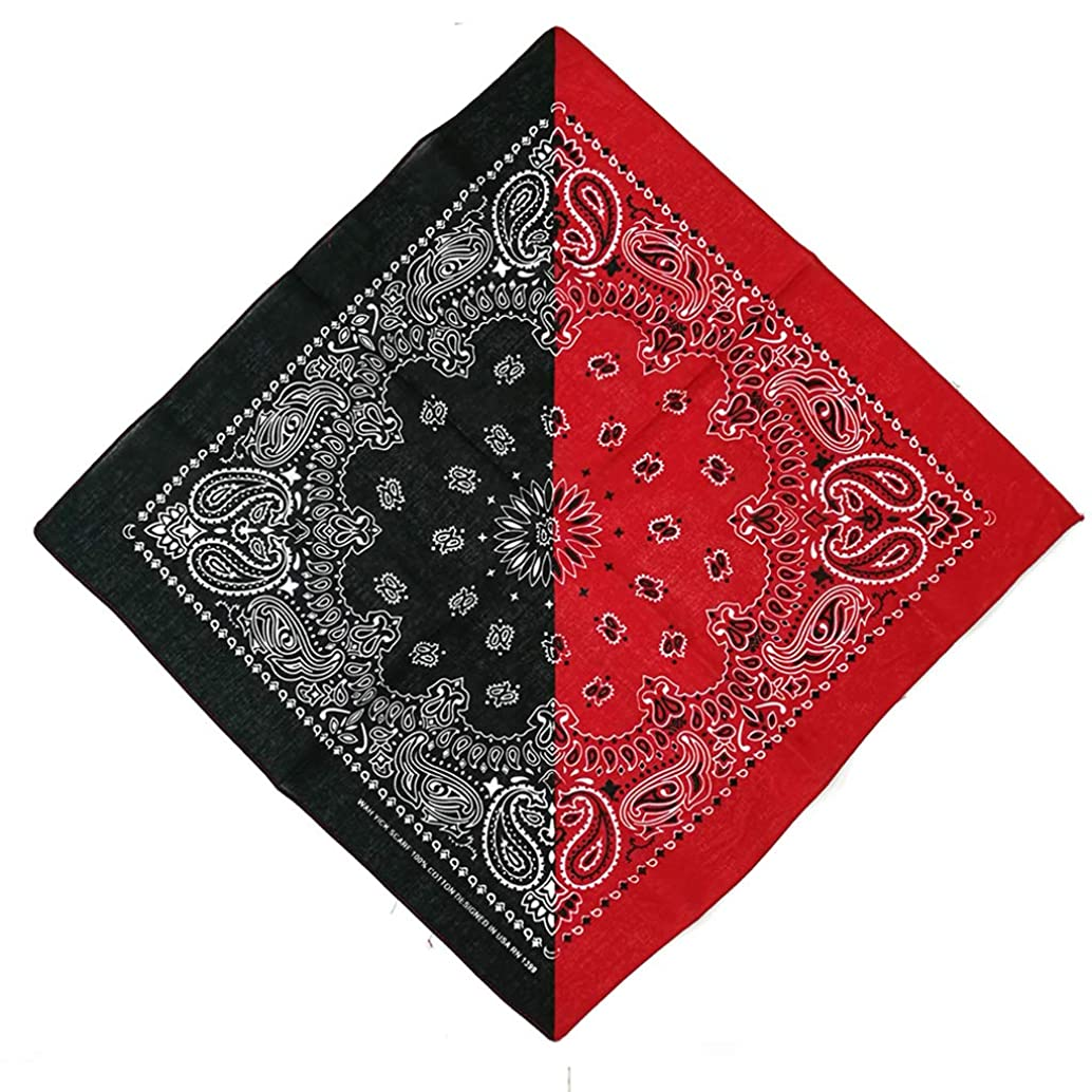 Yeahii Bohemian Paisley Floral Double Color Block 55x55CM Unisex Cotton Pocket Square Scarf Headband Bandana Hip-Hop Wristband Neck Tie for Women Men Unisex