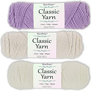 Soft Acrylic Yarn 3-Pack, 3.5oz / Ball, Light Lavender + Eggshell White + Coconut White. Great Value for Knitting, Crochet, Needlework, Arts & Crafts Projects, Gift Set for Beginners and pros Alike
