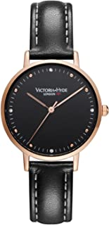VICTORIA HYDE Fashion Simple Women Watch Analog Quartz Genuine Leather Strap Wristwatch for Ladies