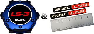 COMBO – LS3 6.2L BLUE OIL CAP in Billet Aluminum + 2 x (pair/set) RED BLACK 6.2L Liter LS3 Real Aluminum Engine Hood Emblem Badge Nameplate Crate for 08-09 Chevy Corvette C6 09-10 Pontiac G8 GXP 08-09 Holden & Vauxhall 2010 Chevy Camaro