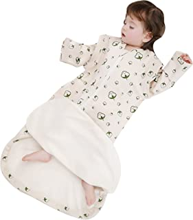 Sleeping Bag Organic Cotton Thickened Removable Sleeves Baby Wearable Blanket Spring Fall
